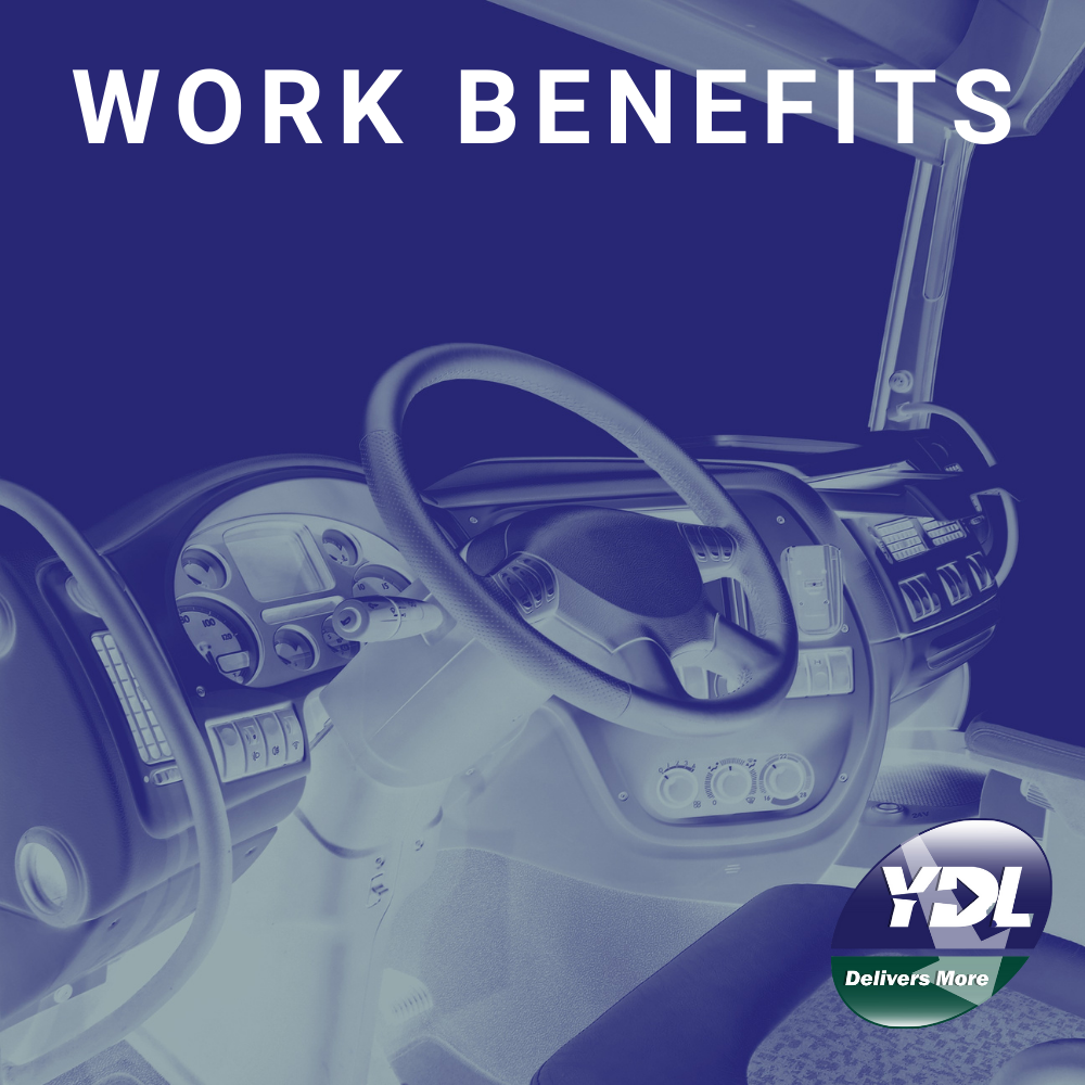 """The text """"work benefits"""" and the YDL logo with a truck cabin in the background"""